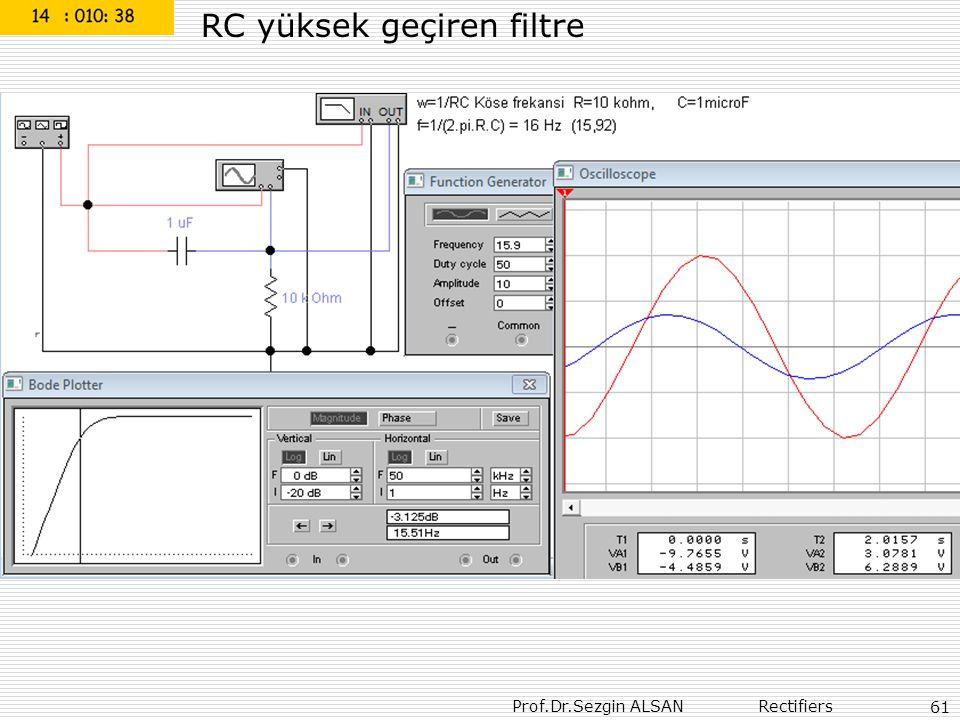 RC yüksek geçiren filtre