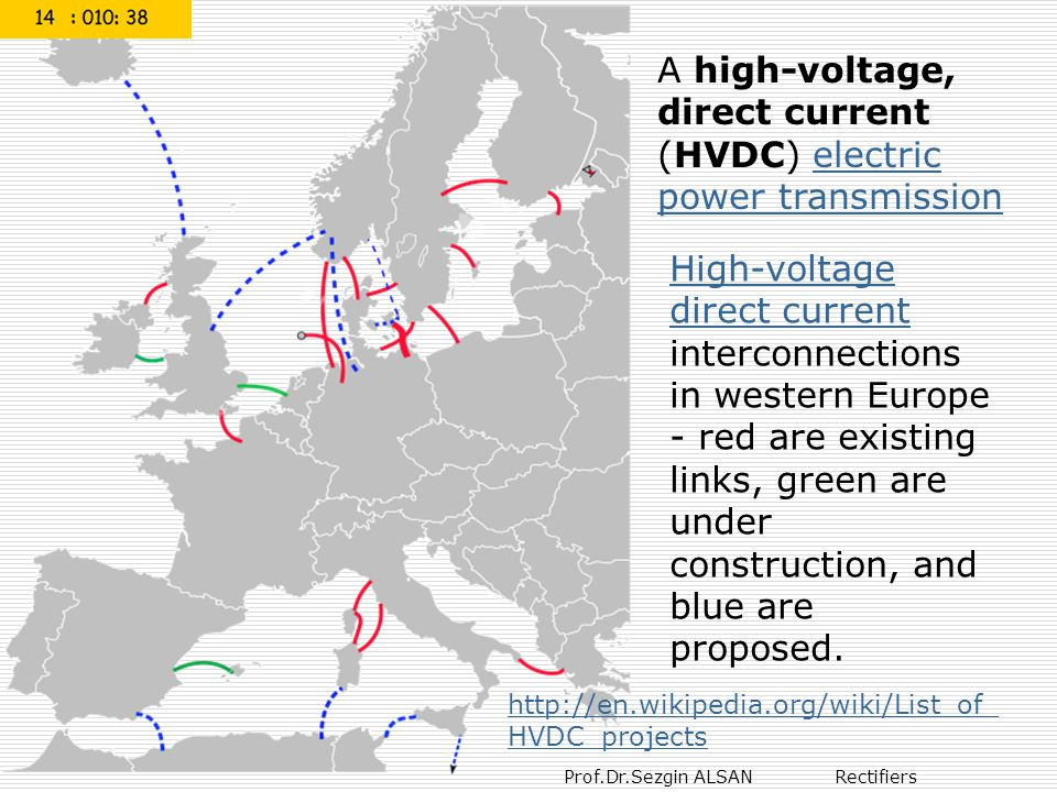 A high-voltage, direct current (HVDC) electric power transmission