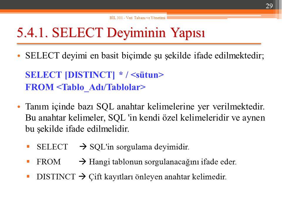 5.4.1. SELECT Deyiminin Yapısı