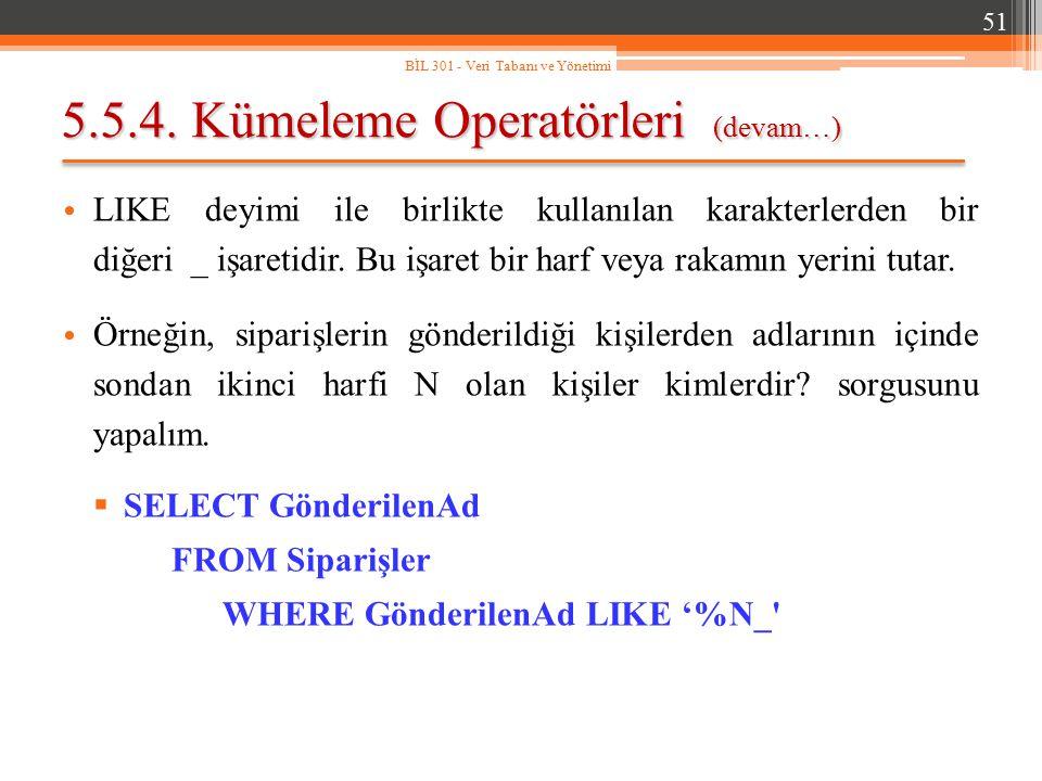 5.5.4. Kümeleme Operatörleri (devam…)