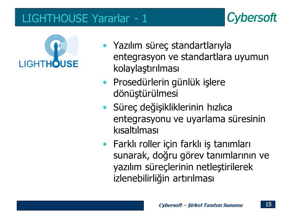 LIGHTHOUSE Yararlar - 1 Yazılım süreç standartlarıyla entegrasyon ve standartlara uyumun kolaylaştırılması.