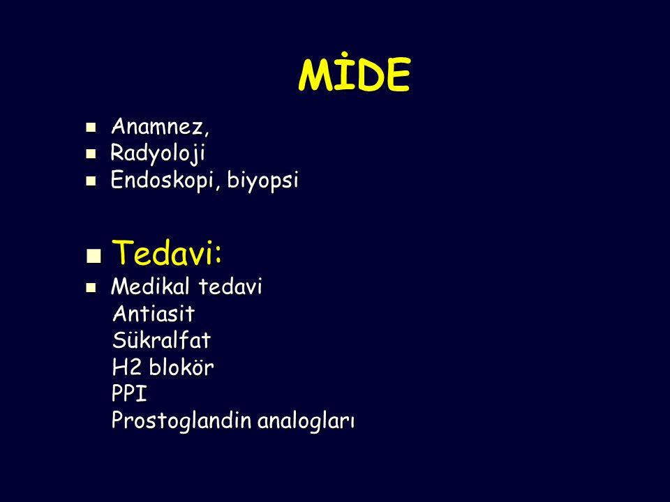 MİDE Tedavi: Anamnez, Radyoloji Endoskopi, biyopsi Medikal tedavi
