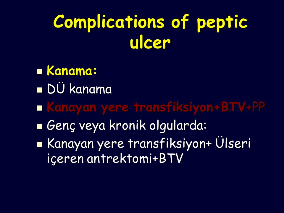 Complications of peptic ulcer
