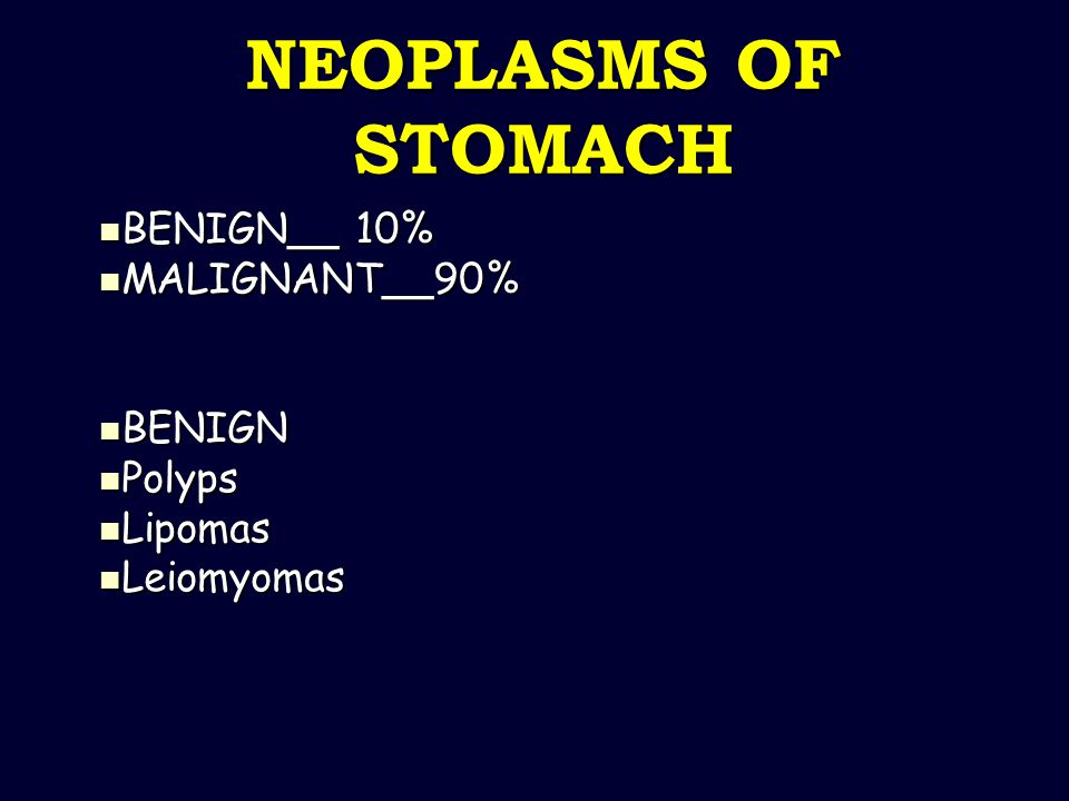 BENIGN__ 10% MALIGNANT__90% BENIGN Polyps Lipomas Leiomyomas
