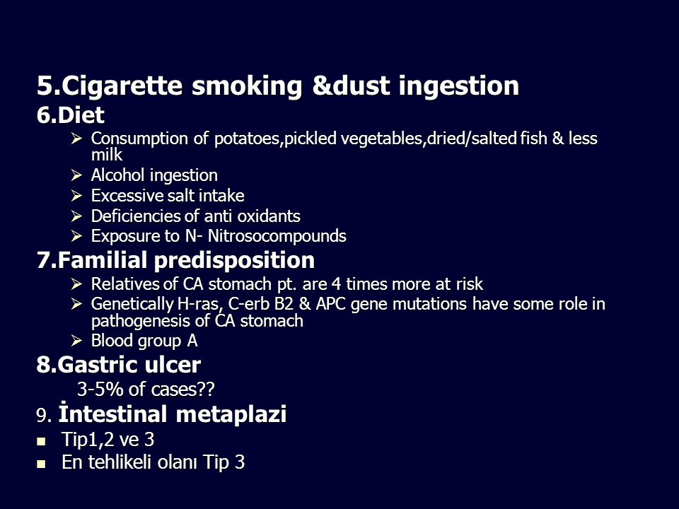 5.Cigarette smoking &dust ingestion