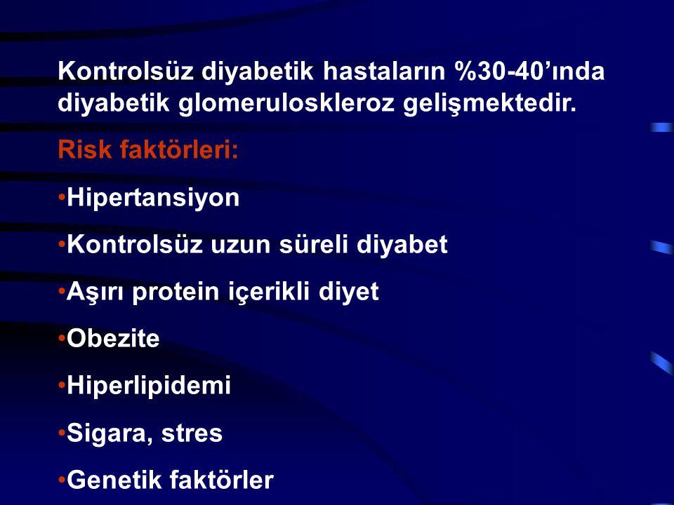 Kontrolsüz diyabetik hastaların %30-40'ında diyabetik glomeruloskleroz gelişmektedir.