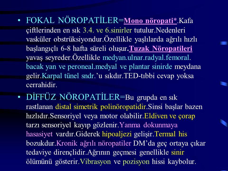 FOKAL NÖROPATİLER=Mono nöropati. Kafa çiftlerinden en sık 3. 4. ve 6