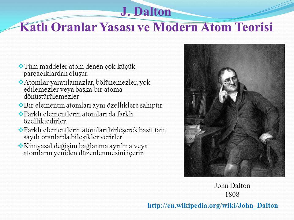 J. Dalton Katlı Oranlar Yasası ve Modern Atom Teorisi