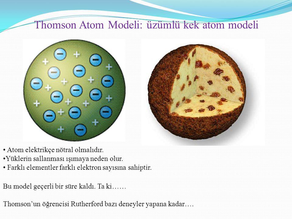 Thomson Atom Modeli: üzümlü kek atom modeli