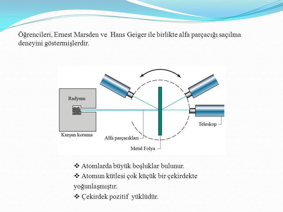 Öğrencileri, Ernest Marsden ve Hans Geiger ile birlikte alfa parçacığı saçılma deneyini göstermişlerdir.