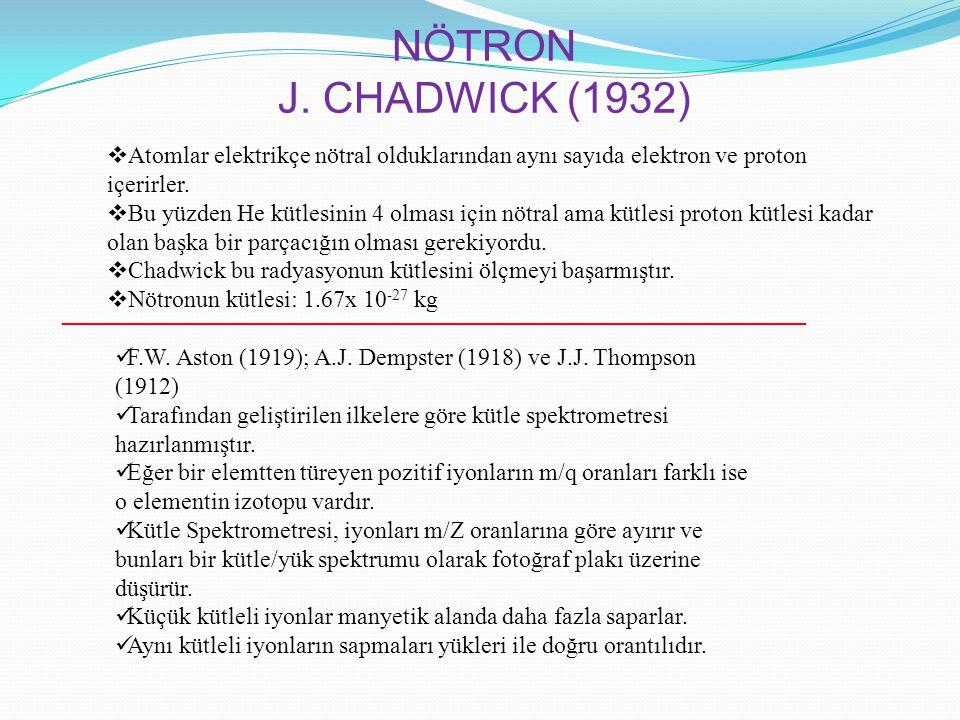NÖTRON J. CHADWICK (1932) Atomlar elektrikçe nötral olduklarından aynı sayıda elektron ve proton içerirler.