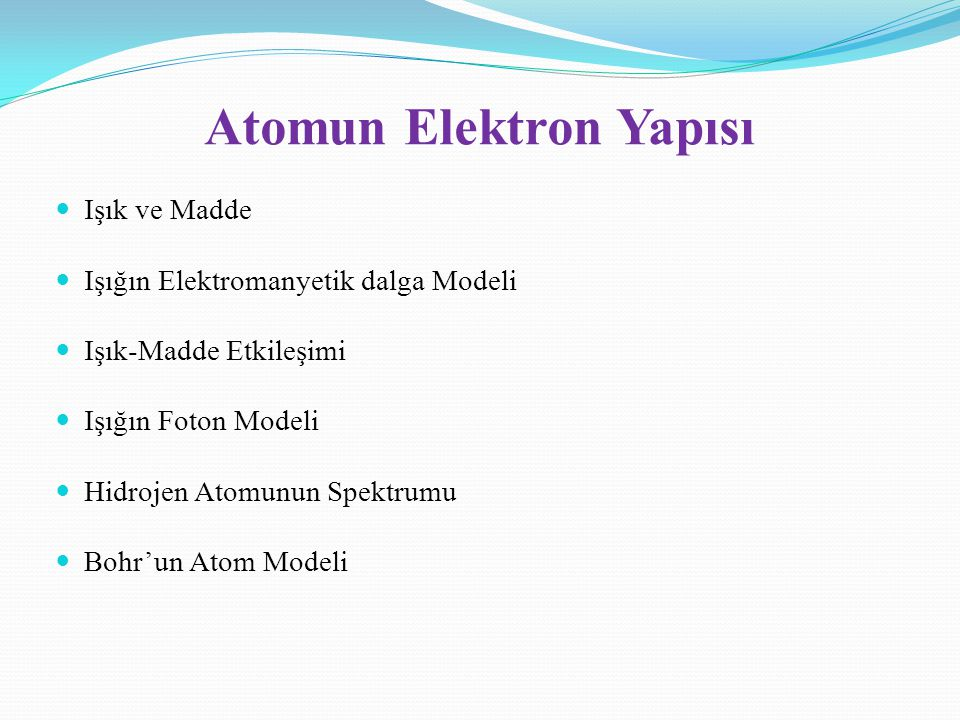 Atomun Elektron Yapısı
