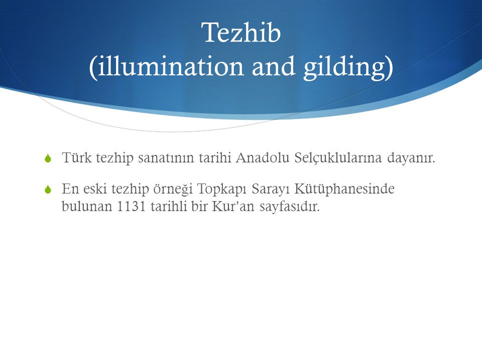 Tezhib (illumination and gilding)
