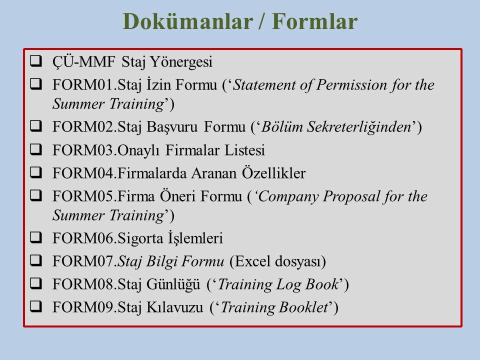 Dokümanlar / Formlar ÇÜ-MMF Staj Yönergesi