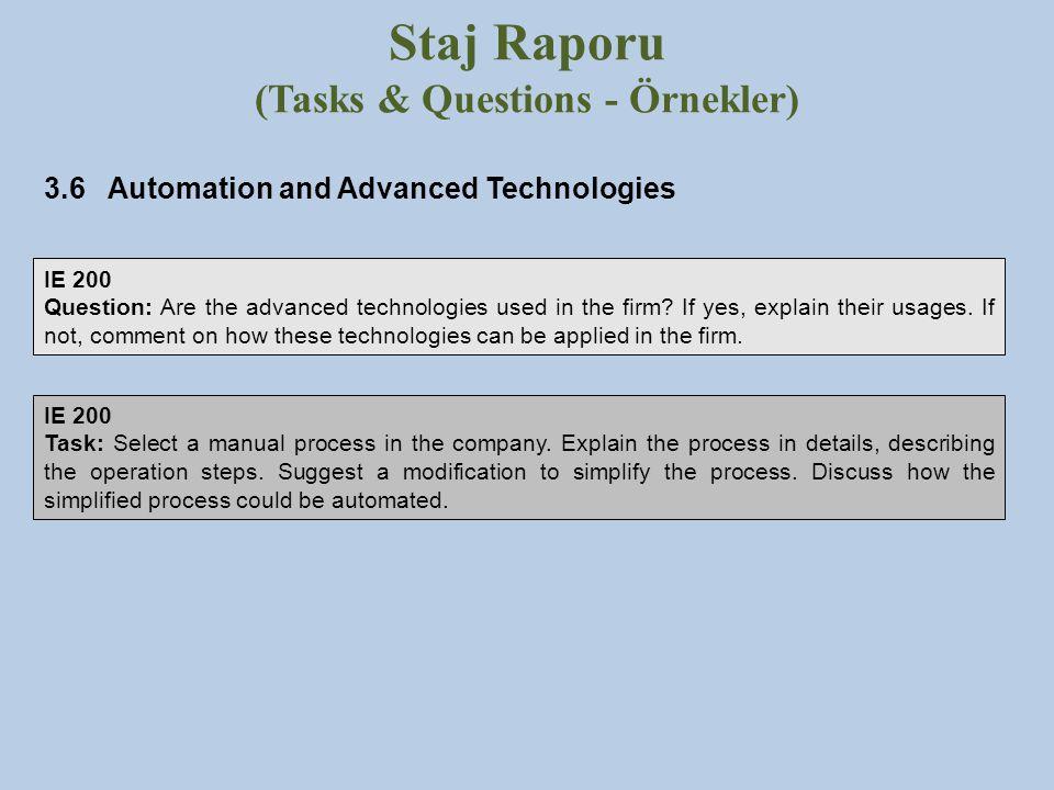 Staj Raporu (Tasks & Questions - Örnekler)