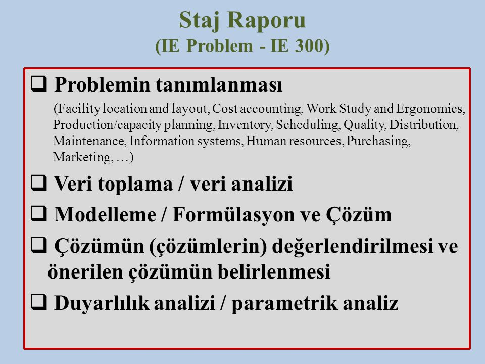Staj Raporu (IE Problem - IE 300)