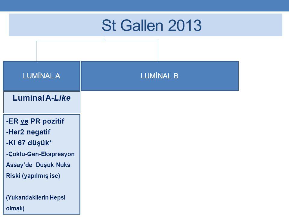 St Gallen 2013 Luminal A-Like LUMİNAL A LUMİNAL B -ER ve PR pozitif