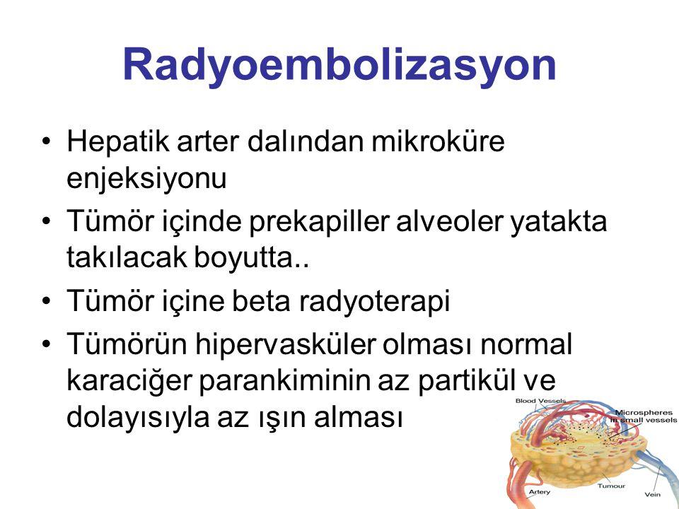 Radyoembolizasyon Hepatik arter dalından mikroküre enjeksiyonu