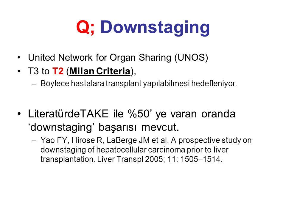 Q; Downstaging United Network for Organ Sharing (UNOS) T3 to T2 (Milan Criteria), Böylece hastalara transplant yapılabilmesi hedefleniyor.