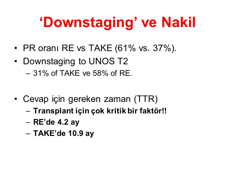 'Downstaging' ve Nakil