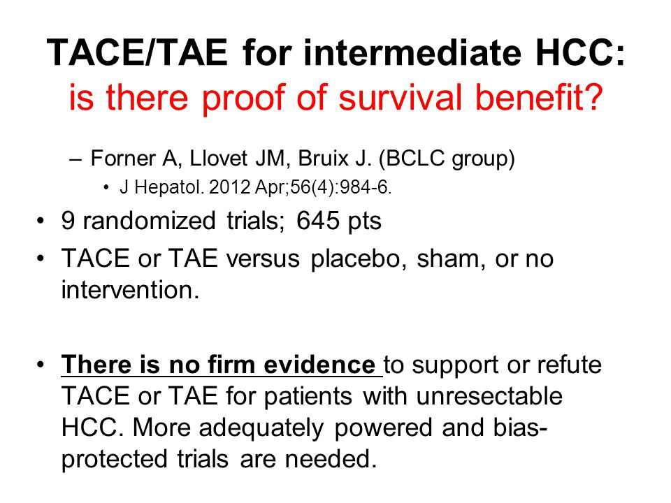 TACE/TAE for intermediate HCC: is there proof of survival benefit