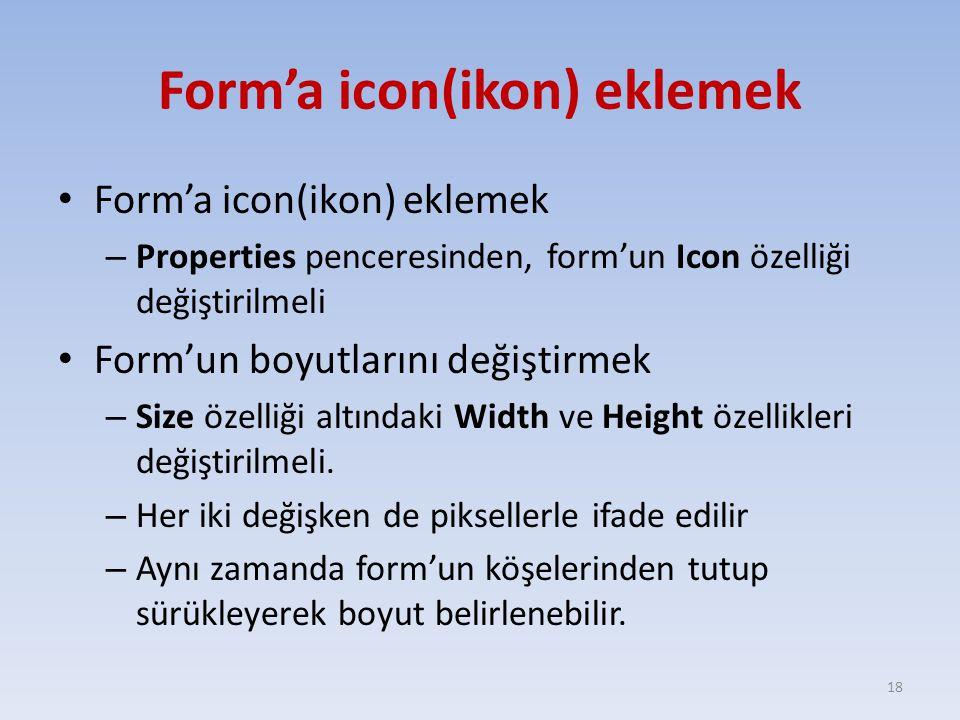 Form'a icon(ikon) eklemek