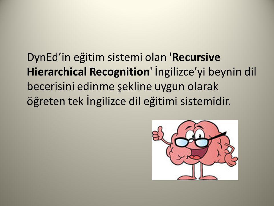 DynEd'in eğitim sistemi olan Recursive Hierarchical Recognition İngilizce'yi beynin dil becerisini edinme şekline uygun olarak öğreten tek İngilizce dil eğitimi sistemidir.