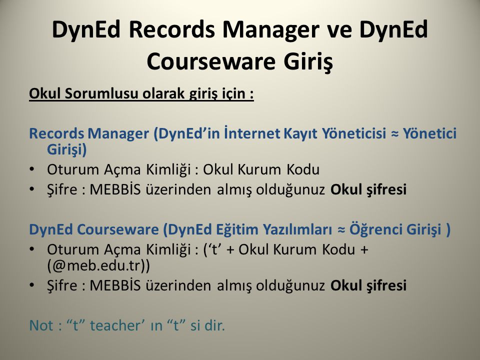 DynEd Records Manager ve DynEd Courseware Giriş