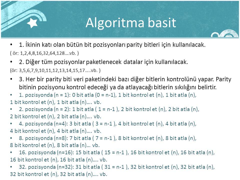 Algoritma basit 1. İkinin katı olan bütün bit pozisyonları parity bitleri için kullanılacak. ( ör: 1,2,4,8,16,32,64,128….vb. )