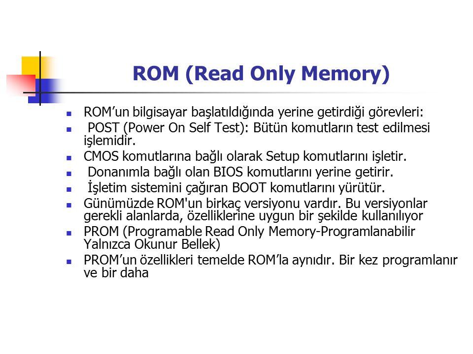 ROM (Read Only Memory) ROM'un bilgisayar başlatıldığında yerine getirdiği görevleri: