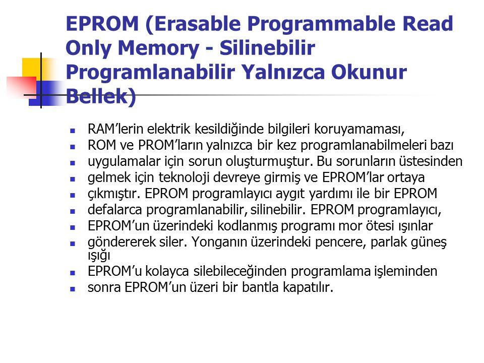 EPROM (Erasable Programmable Read Only Memory - Silinebilir Programlanabilir Yalnızca Okunur Bellek)