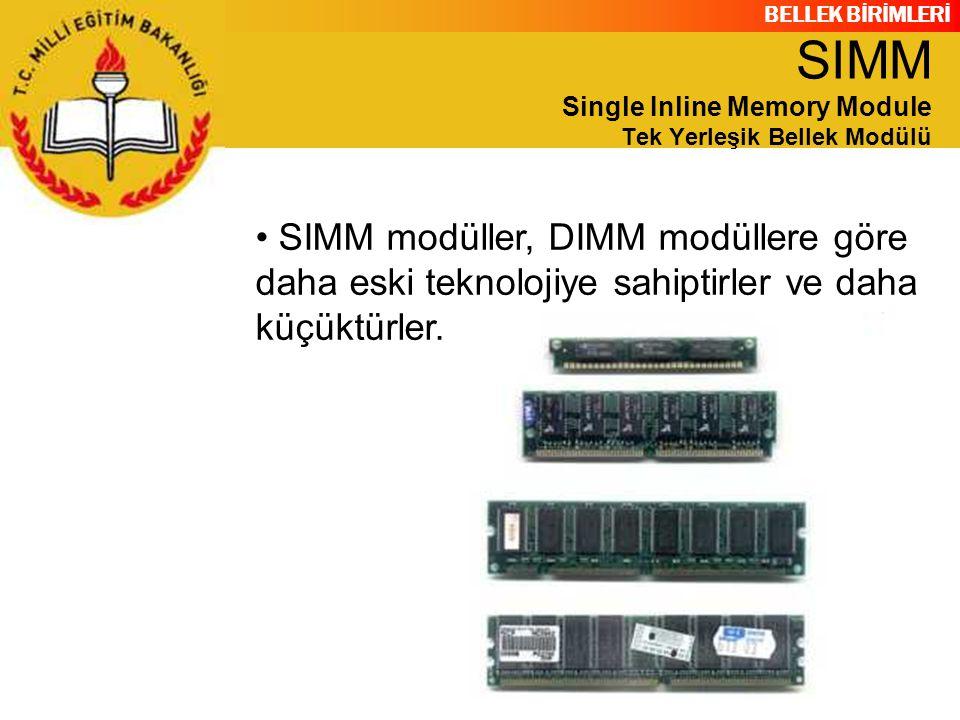 SIMM Single Inline Memory Module Tek Yerleşik Bellek Modülü
