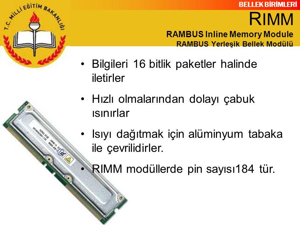 RIMM RAMBUS Inline Memory Module RAMBUS Yerleşik Bellek Modülü