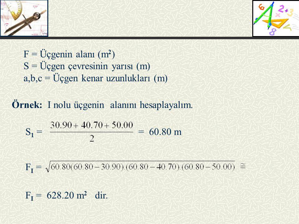 S = Üçgen çevresinin yarısı (m) a,b,c = Üçgen kenar uzunlukları (m)