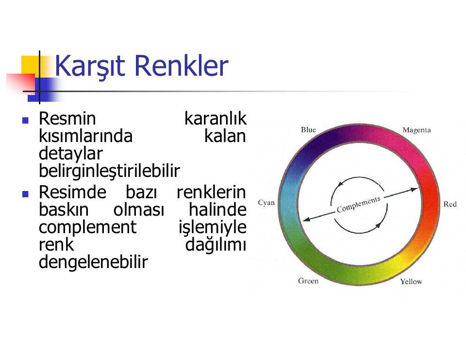 Karşıt Renkler Resmin karanlık kısımlarında kalan detaylar belirginleştirilebilir.