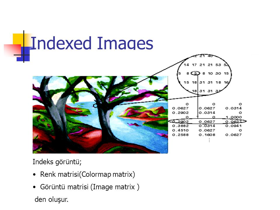 Indexed Images Indeks görüntü; Renk matrisi(Colormap matrix)