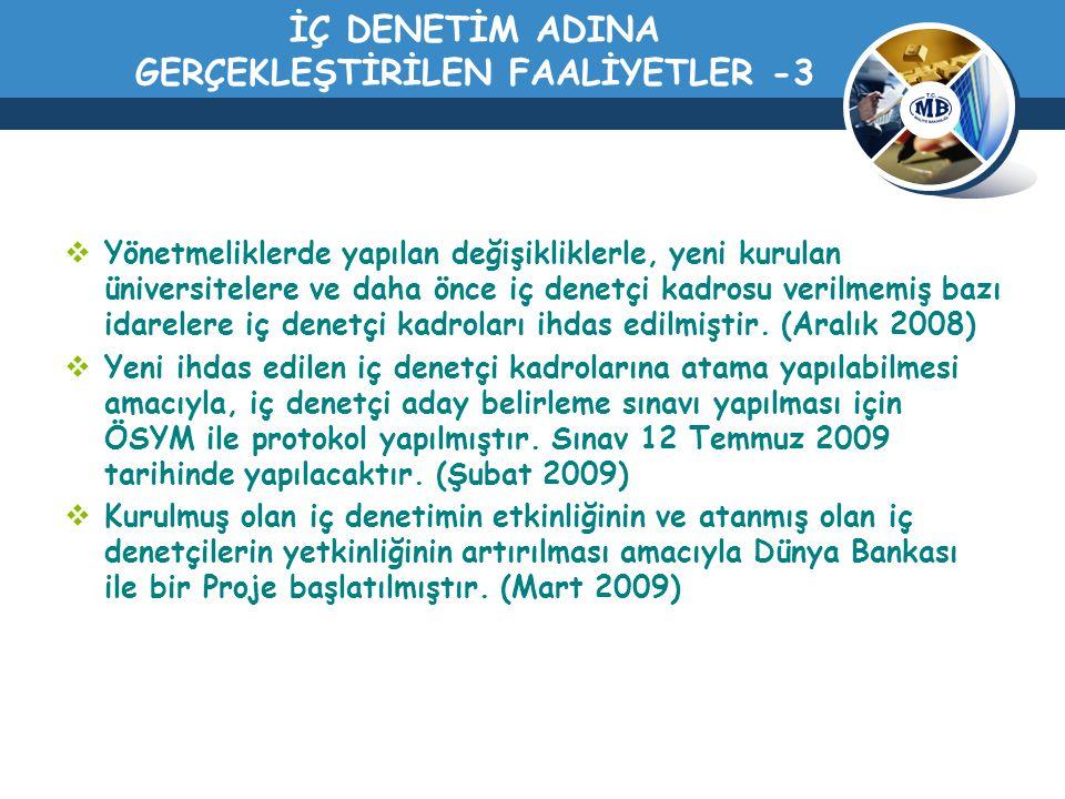 İÇ DENETİM ADINA GERÇEKLEŞTİRİLEN FAALİYETLER -3
