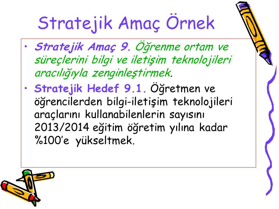 Stratejik Amaç Örnek Stratejik Amaç 9. Öğrenme ortam ve süreçlerini bilgi ve iletişim teknolojileri aracılığıyla zenginleştirmek.