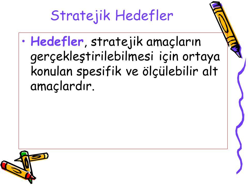 Stratejik Hedefler Hedefler, stratejik amaçların gerçekleştirilebilmesi için ortaya konulan spesifik ve ölçülebilir alt amaçlardır.