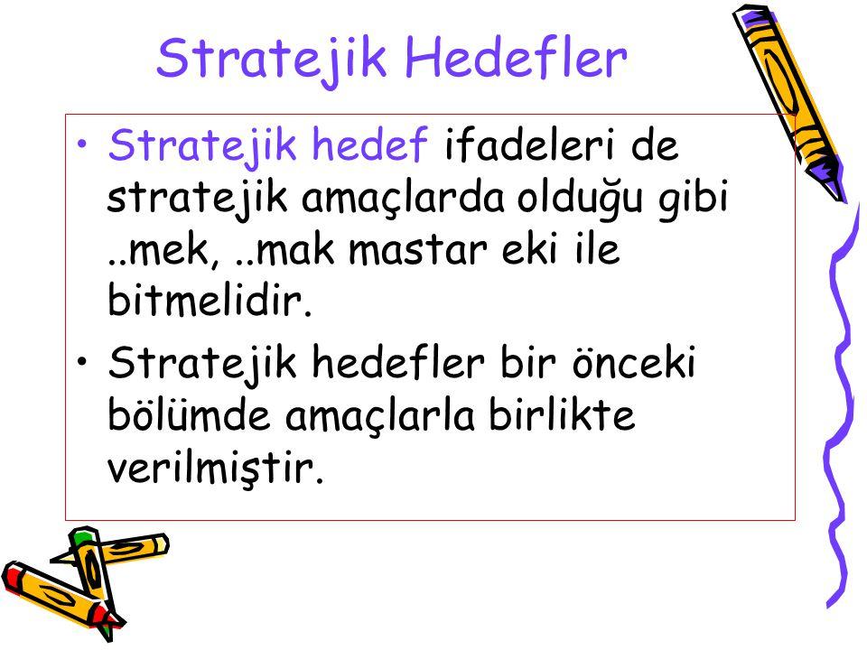 Stratejik Hedefler Stratejik hedef ifadeleri de stratejik amaçlarda olduğu gibi ..mek, ..mak mastar eki ile bitmelidir.
