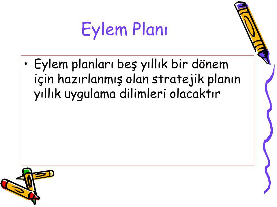 Eylem Planı Eylem planları beş yıllık bir dönem için hazırlanmış olan stratejik planın yıllık uygulama dilimleri olacaktır.