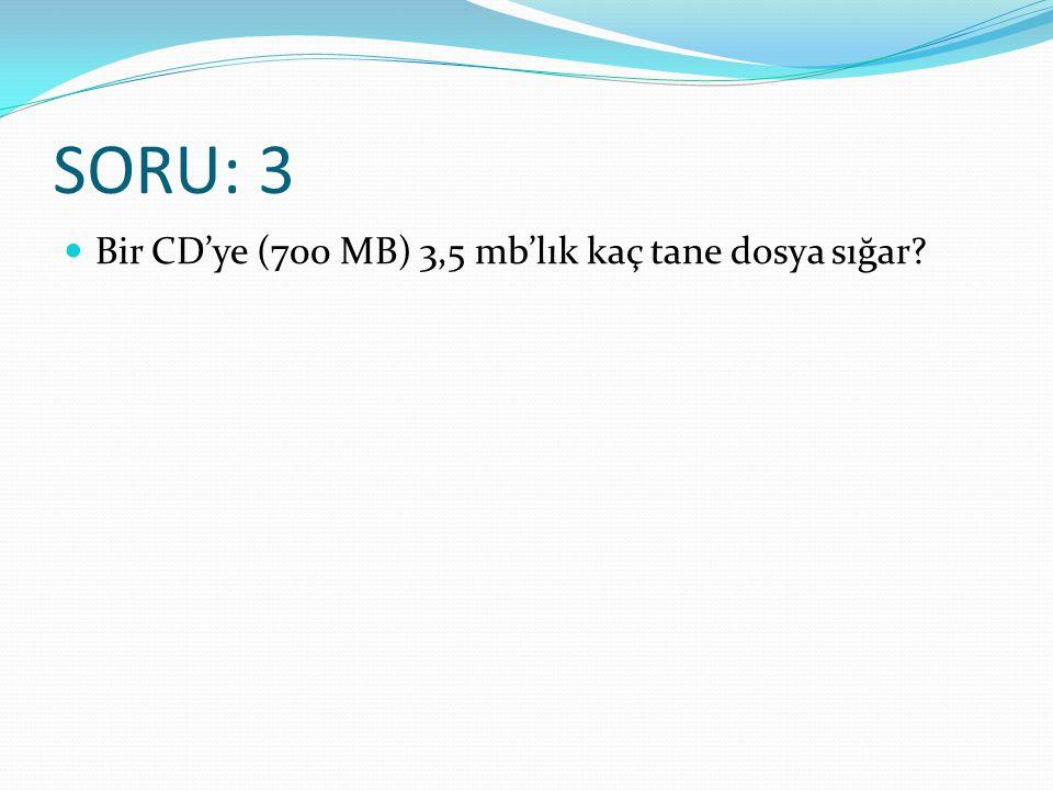 SORU: 3 Bir CD'ye (700 MB) 3,5 mb'lık kaç tane dosya sığar