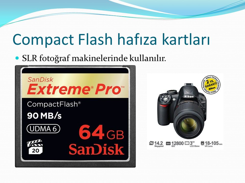 Compact Flash hafıza kartları