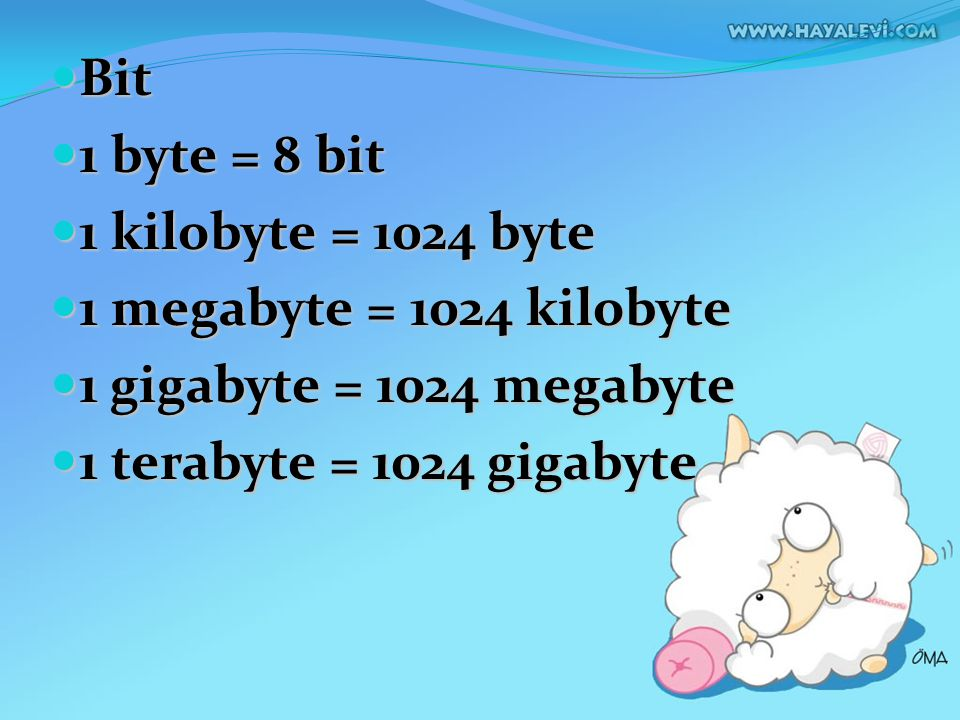 Bit 1 byte = 8 bit. 1 kilobyte = 1024 byte. 1 megabyte = 1024 kilobyte. 1 gigabyte = 1024 megabyte.