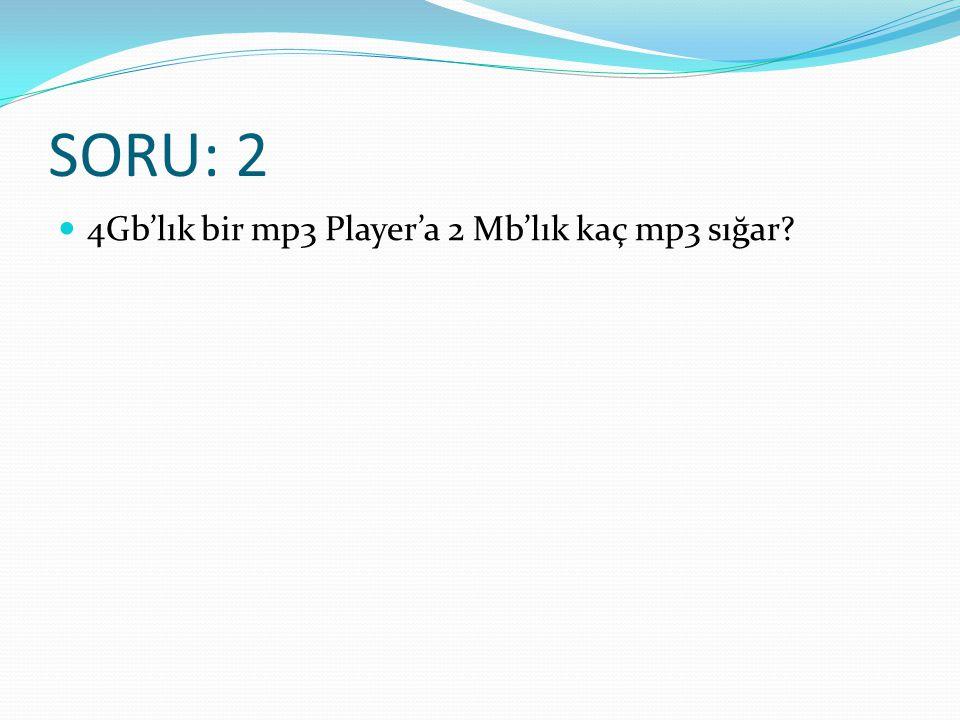 SORU: 2 4Gb'lık bir mp3 Player'a 2 Mb'lık kaç mp3 sığar
