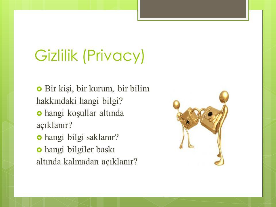 Gizlilik (Privacy) Bir kişi, bir kurum, bir bilim