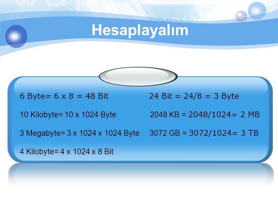 Hesaplayalım 6 Byte= 6 x 8 = 48 Bit 24 Bit = 24/8 = 3 Byte