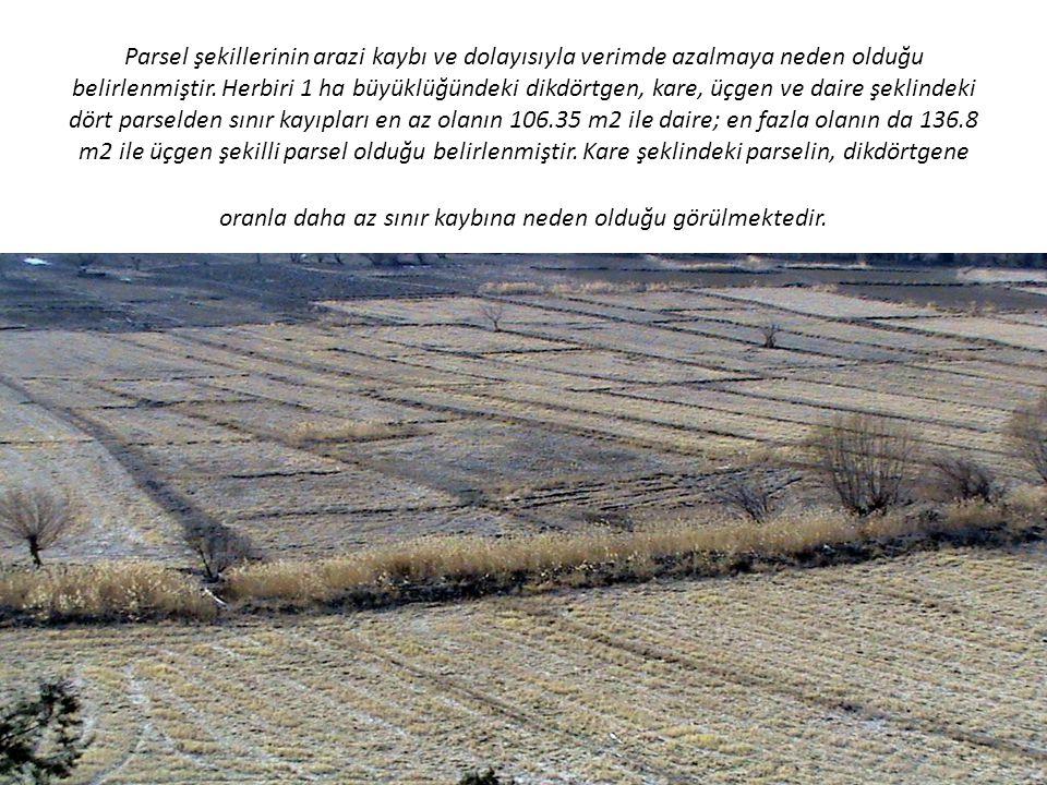 Parsel şekillerinin arazi kaybı ve dolayısıyla verimde azalmaya neden olduğu belirlenmiştir.
