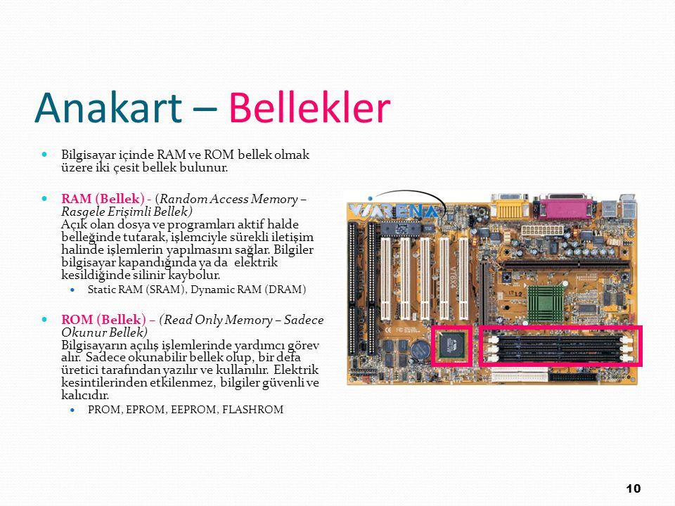 Anakart – Bellekler Bilgisayar içinde RAM ve ROM bellek olmak üzere iki çesit bellek bulunur.