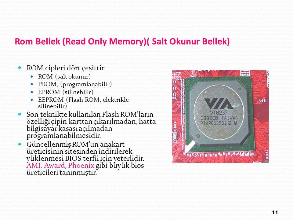 Rom Bellek (Read Only Memory)( Salt Okunur Bellek)